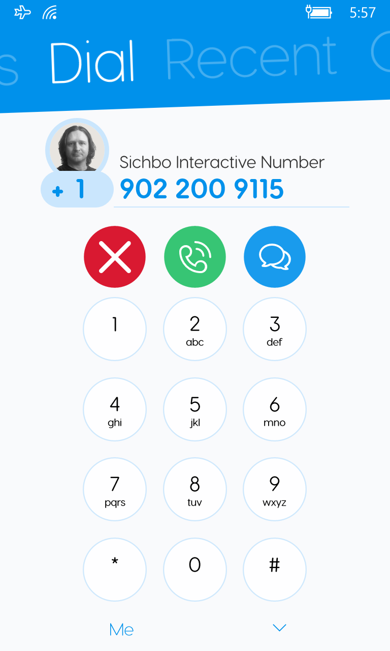 The SichboPhone dialing screen on Windows 10 Mobile.